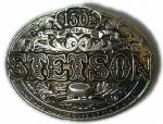 Stetson Boss of the Plains 150th Anniversary German Silver Plated Belt Buckle